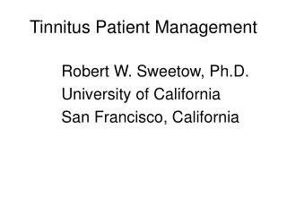 Tinnitus Patient Management