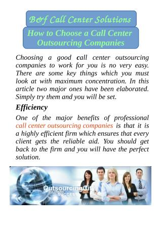 How to Choose a Call Center Outsourcing Companies