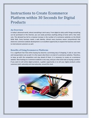 Instructions to Create Ecommerce Platform within 30 Seconds for Digital Products