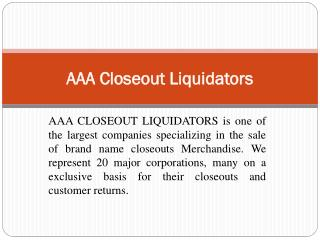 AAA Closeout Liquidators|Closeout buyer|Overstock Buyers|Toys closeouts