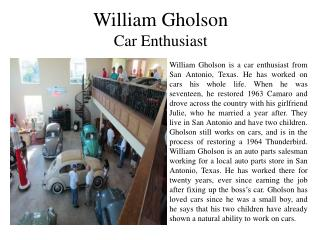 William Gholson Car Enthusiast