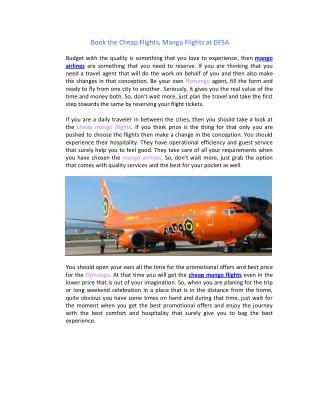 Mango Flights, Mango Airlines