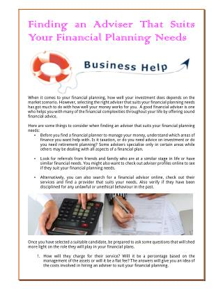 Finding An Adviser That Suits Your Financial Planning Needs