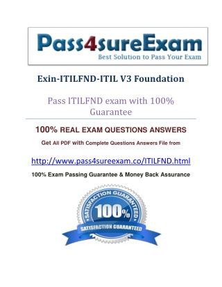 Pass4sure ITILFND Exam