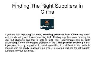 Right suppliers - Sourcing products from China