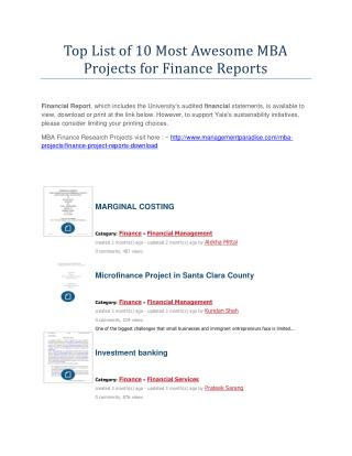 Top List of 10 Most Awesome MBA Projects for Finance Reports