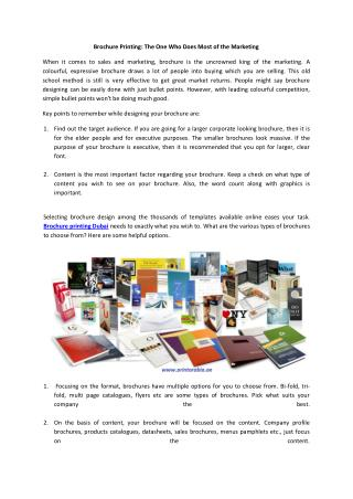 Brochure Printing: The One Who Does Most of the Marketing