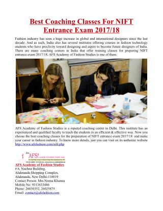 Best Coaching Classes For NIFT Entrance Exam 2017/18