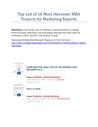 Top List of 10 Most Awesome MBA Projects for Marketing Reports