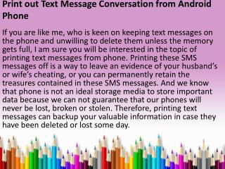 How to print out text messages android?