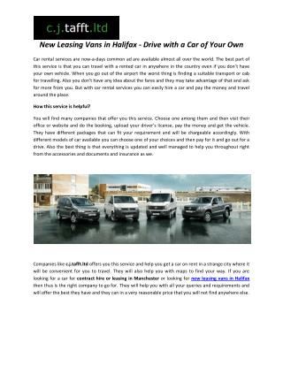 New Leasing Vans in Halifax - Drive with a Car of Your Own