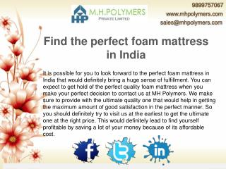 Find the perfect foam mattress in India