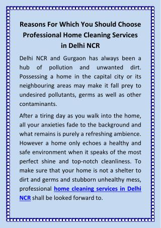 Reasons For Which You Should Choose Professional Home Cleaning Services in Delhi NCR