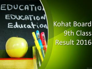 Students can get Kohat Board 9th Class Result 2016