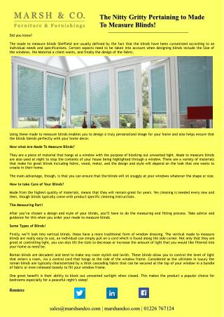 The Nitty Gritty Pertaining to Made To Measure Blinds!