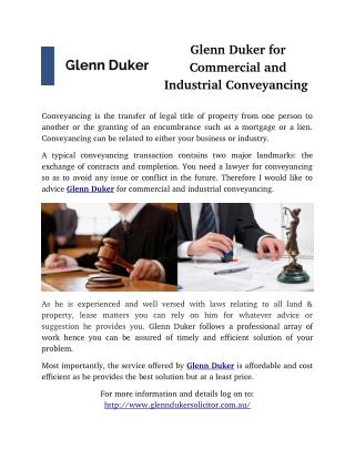 Glenn Duker for Commercial and Industrial Conveyancing
