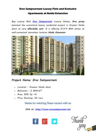 Eros Sampoornam Luxury Flats and Exclusive Apartments at Noida Extension