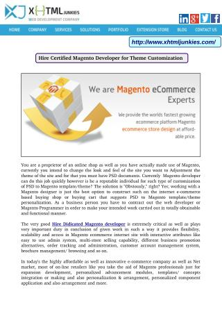 Hire Certified Magento Developer for Theme Customization