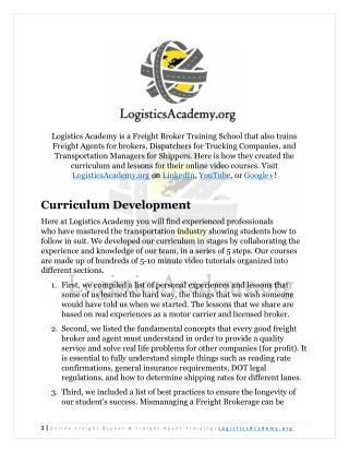 LogisticsAcademy.org Freight Broker Training School Curriculum Development