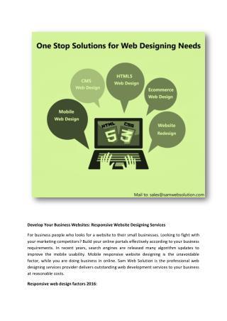 Develop Your Business Websites: Responsive Website Designing Services