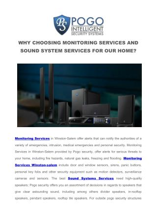 WHY CHOOSING MONITORING SERVICES AND SOUND SYSTEM SERVICES FOR OUR HOME?