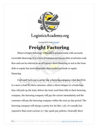Freight Factoring for Freight Brokers