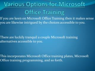 Various Options for Microsoft Office Training