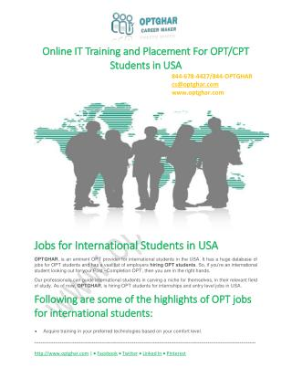 OPT Jobs for International Students: Jobs for International Students in USA