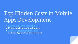 Top Hidden Costs in Mobile Apps Development