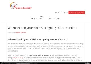 When should your child start going to the dentist?