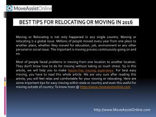 Useful Tips for Easy Relocating in 2016