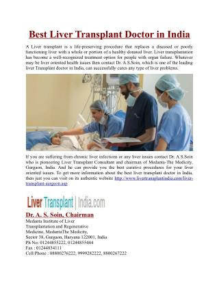Best Liver Transplant Doctor in India