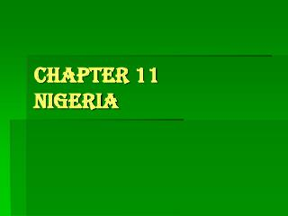 Chapter 11 Nigeria