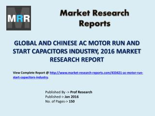 AC Motor Run and Start Capacitors Market Manufacturing Technology, Development, Analysis and Forecasts to 2021
