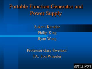Portable Function Generator and Power Supply