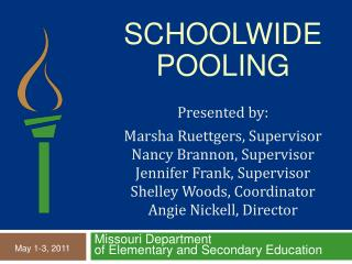 Schoolwide  Pooling  Presented by:    Marsha Ruettgers, Supervisor Nancy Brannon, Supervisor Jennifer Frank, Supervisor