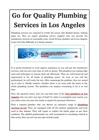Go for Quality Plumbing Services in Los Angeles