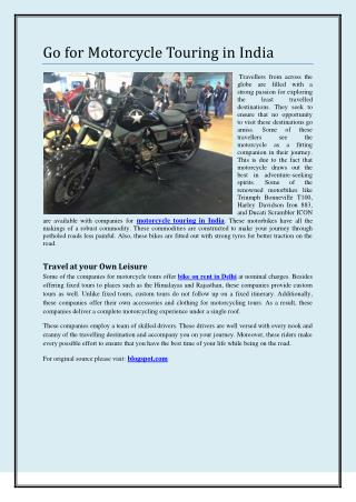 Go for Motorcycle Touring in India