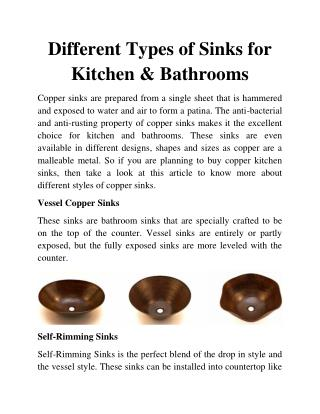 Different Types of Sinks for Kitchen and Bathrooms