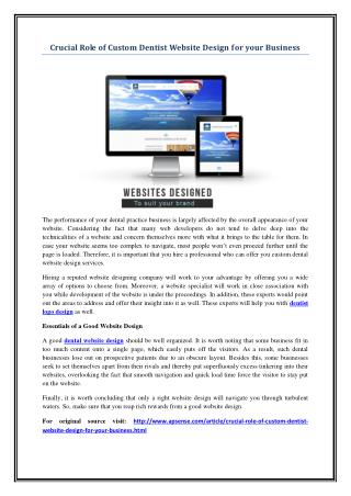 Crucial Role of Custom Dentist Website Design for your Business
