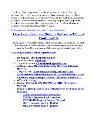Live Leap Detail Review and Live Leap $22,700 Bonus
