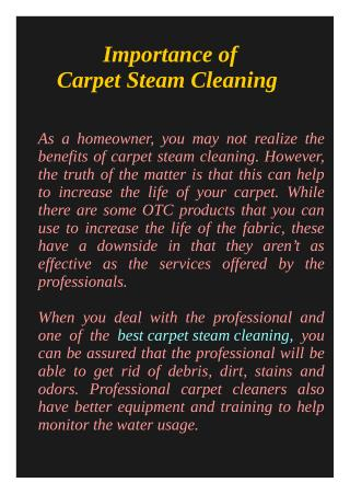 Importance of Carpet Steam Cleaning