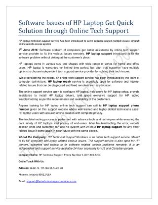 Software Issues of HP Laptop Get Quick Solution through Online Tech Support