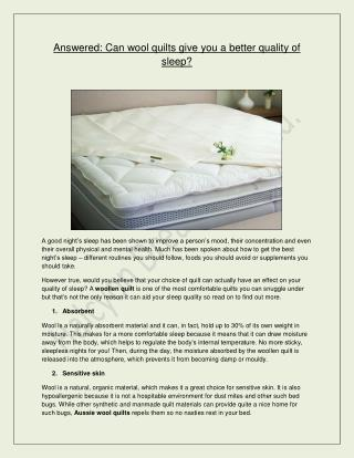 Halcyon Dreams Pty. Ltd. - Can wool quilts give you a better quality of sleep?