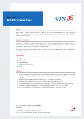 Case Study -Web Portal For Insurance Giant