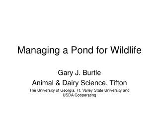 Managing a Pond for Wildlife