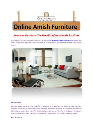 American Furniture: The Benefits of Handmade Furniture