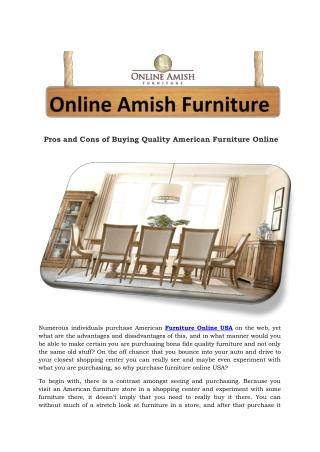 Pros and Cons of Buying Quality American Furniture Online