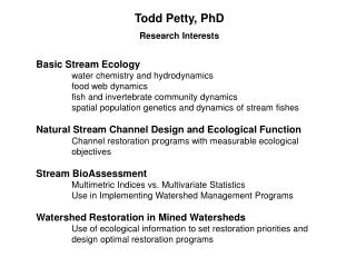 Todd Petty, PhD Research Interests