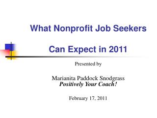 What Nonprofit Job Seekers Can Expect in 2011